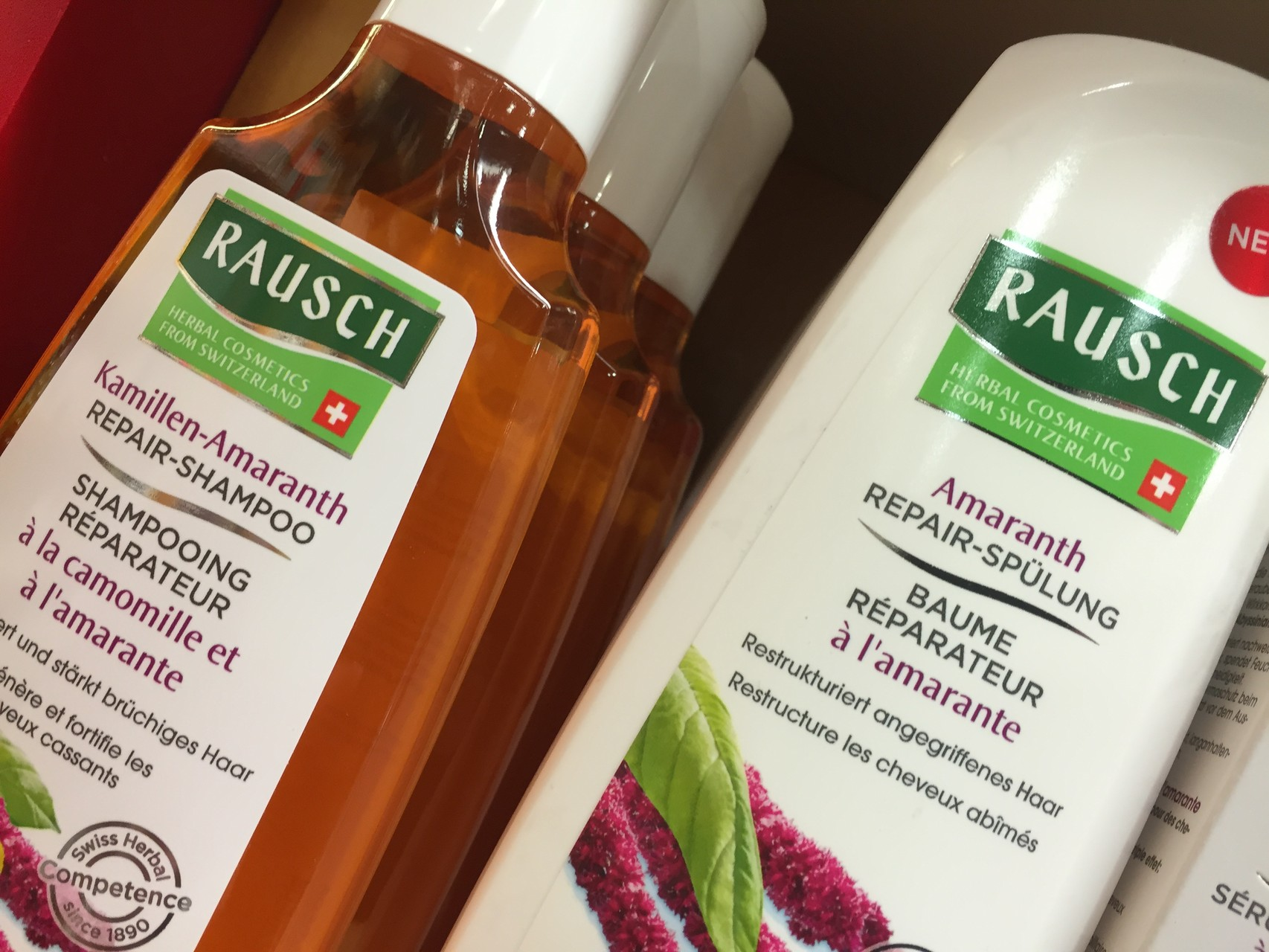 ... bei geschädigtem Haar...Kamillen - Amaranth Shampoo, Amaranth  Spülung, Amaranth Repair - Serum, Amaranth Spliss - Repair - Cream.