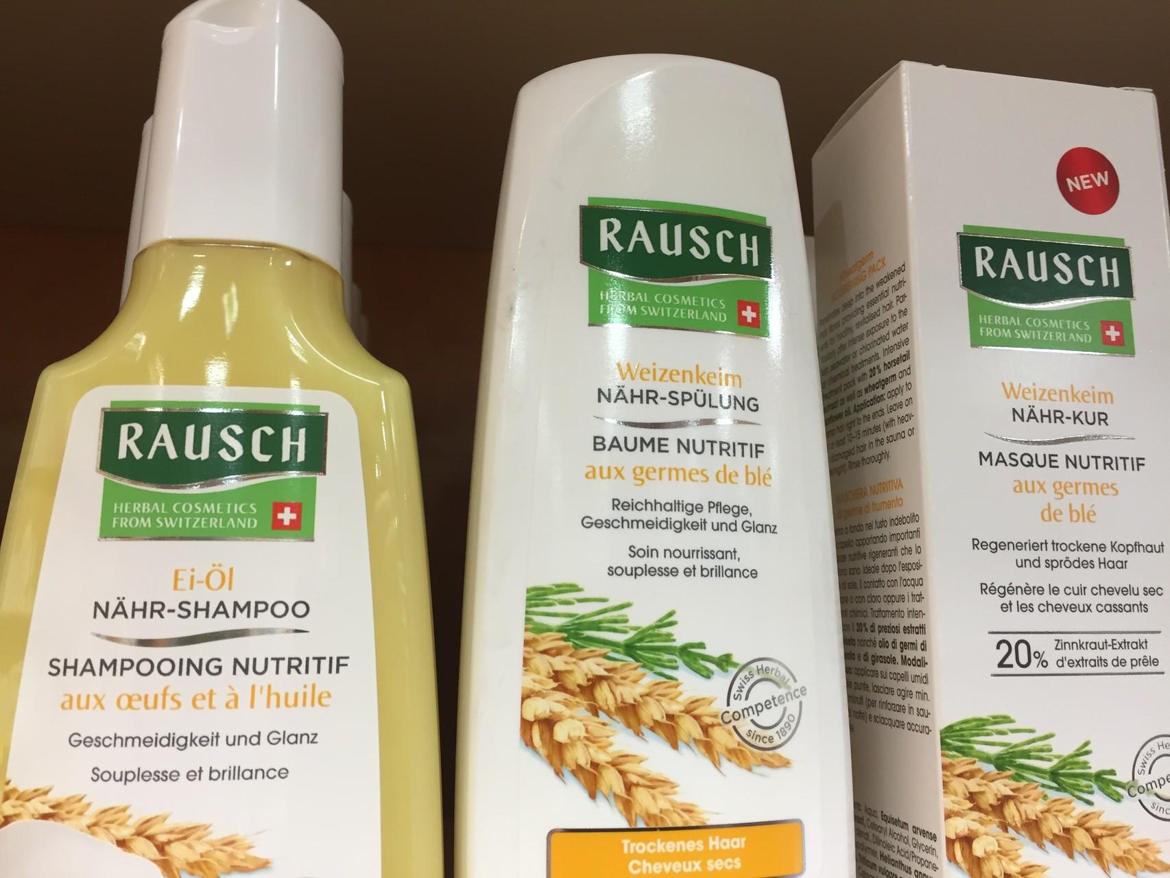 ... bei trockenem Haar: Ei - Öl Nähr - Shampoo, Weizenkeim Nähr - Spülung, Weizenkeim Nähr - Kur, Weizenkeim Feuchtigkeits - Spray mit UV Schutz.