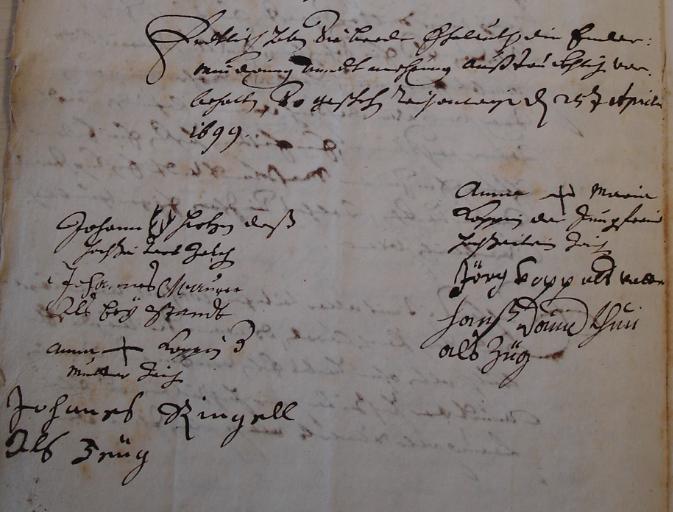 copie des signatures du contrat de mariage de Jean HIRTZ (Johann) et d'Anne Marie KOPP (Anna Maria), le 25 avril 1699. Vous remarquerez le dessin des bois de cerf entre le prénom et le nom. L'origine du nom serait vraisemblablement HIRSCH.