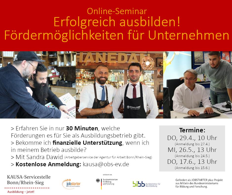 Online-Seminare: Förderungen für Unternehmen während der Ausbildung
