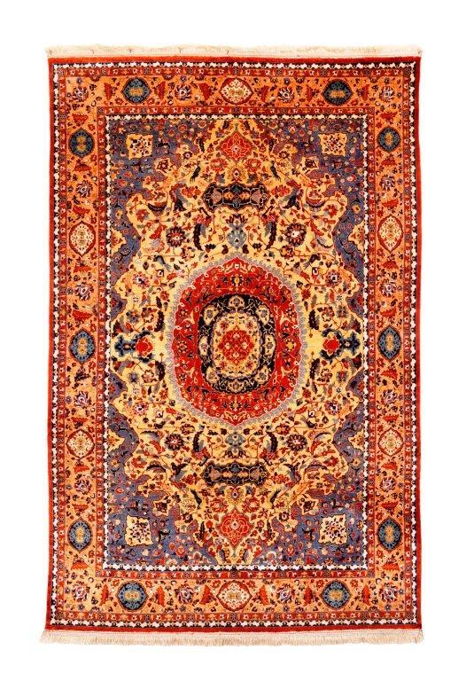 Isfahan Seide, um 1900, 185 x 130 cm, extrem fein –