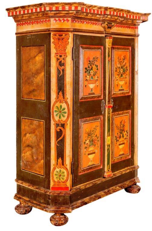 Salzburger Bauernschrank, Originalbemalung, dat 1782, 118x55x173cm