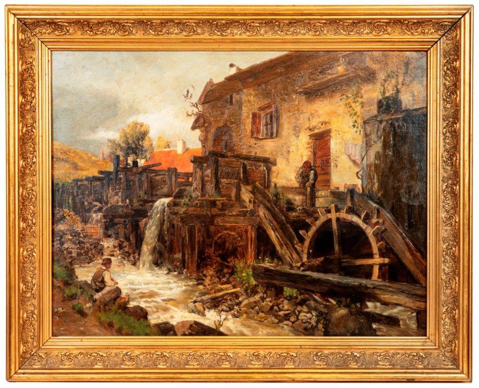 Franz Russ, Öl auf LW, Hammerwerk in d. Steiermark, Abb. im Museumskatalog Joanneum Graz, 50 x 70 cm