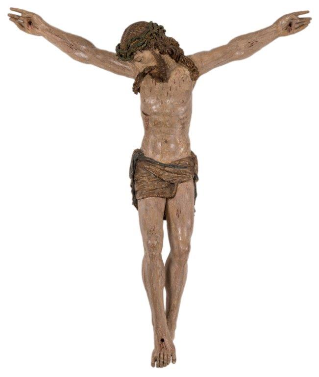 18- Christus, meisterl. Arbeit, Italien um 1430, Linde mit Originalfassung, H 100cm