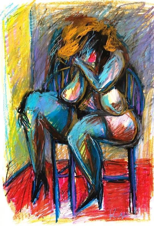 Akt sitzend, Pastellkreide auf Papier, 57 x 38 cm