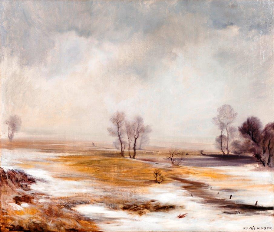 F.X.Weidinger, Winterlandschaft Öl auf Leinwand, 100x118cm