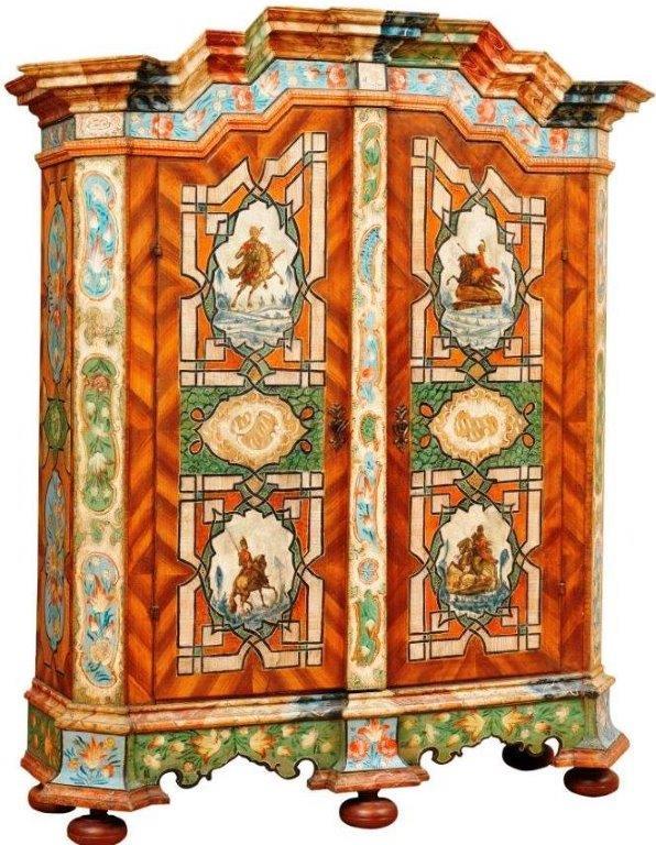 Linzer Reiterschrank, Originalbemalung um 1775,  155 x 55 x 212 H