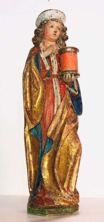 Hl. Damian, Tirol um 1480, H 72 cm Originalfassung, Schutzpatron der Ärzte u. Apotheker