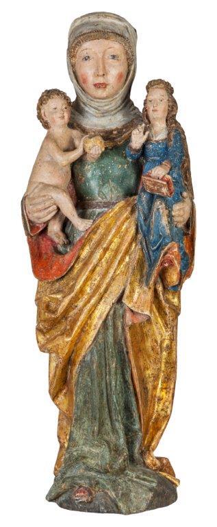 Anna Selbdritt, Schwaben um 1500, alte Fassung, Höhe 85cm