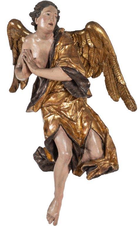 1-Johann Franz Schwanthaler adorierender Engel alte Fassung, Höhe 67 cm