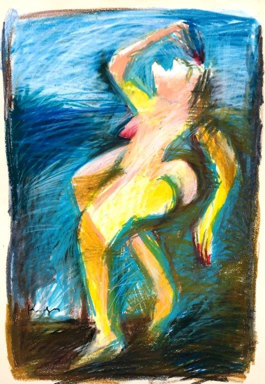 tanzender Akt, Pastell - Papier, 57 x 38 cm