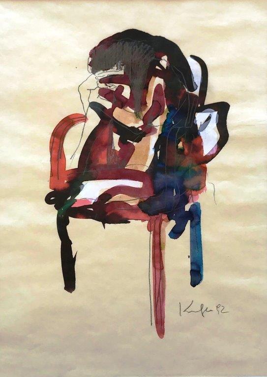 Akt sitzend,  Pastell auf Papier, 25 x 21 cm