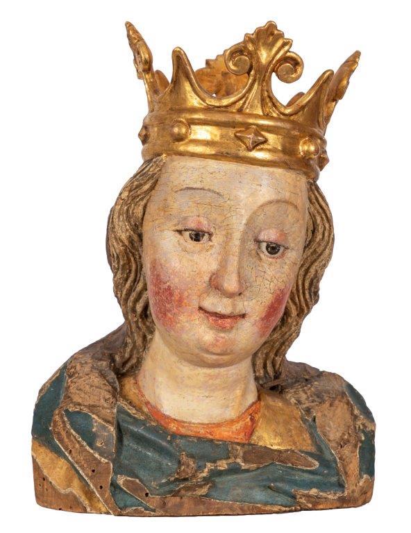 Torso Hl Maria gotisch, alte Fassung, H 25 cm