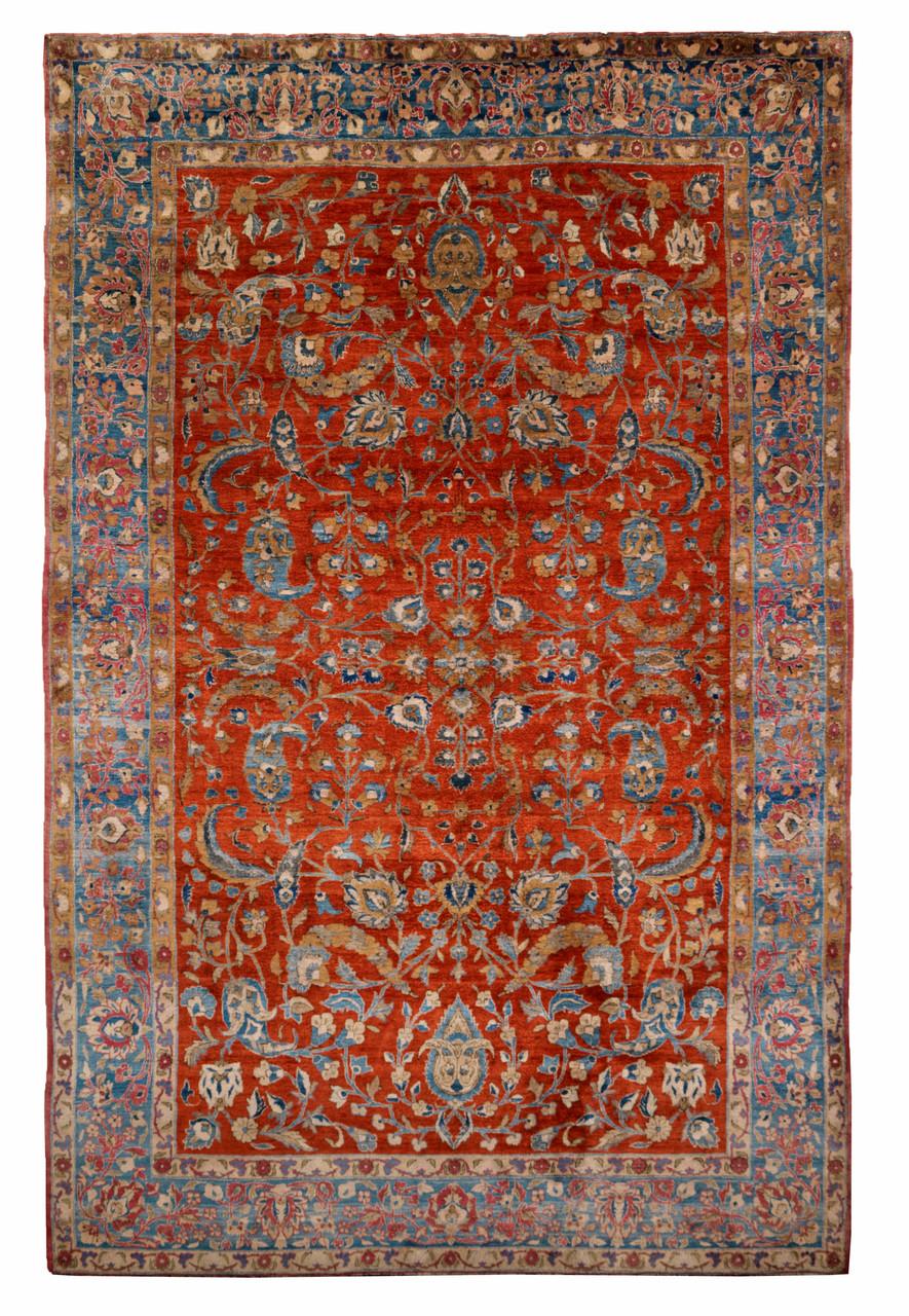 Keschan, Reinseide, 210 x 130 cm, um 1900, ca. 1 Mill. Knoten pro m2, erstkl. Erhaltung