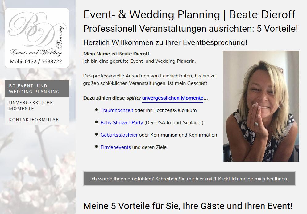 Beate Dieroff: Event- und Wedding-Planerin: Traumhochzeit, Baby-Shower-Party, Geburtstagsfeiern, Firmenevents. Mehr Sehen? Klick ins Bild