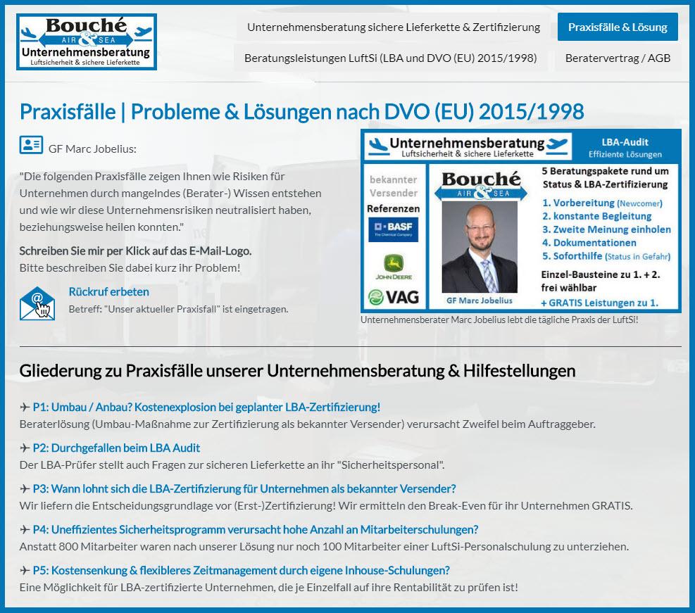 Bildauszug Seite der Homepagehttps://www.soforthilfe-status-lba-audit.de/praxisf%C3%A4lle-unternehmensberatung-luftsicherheit/
