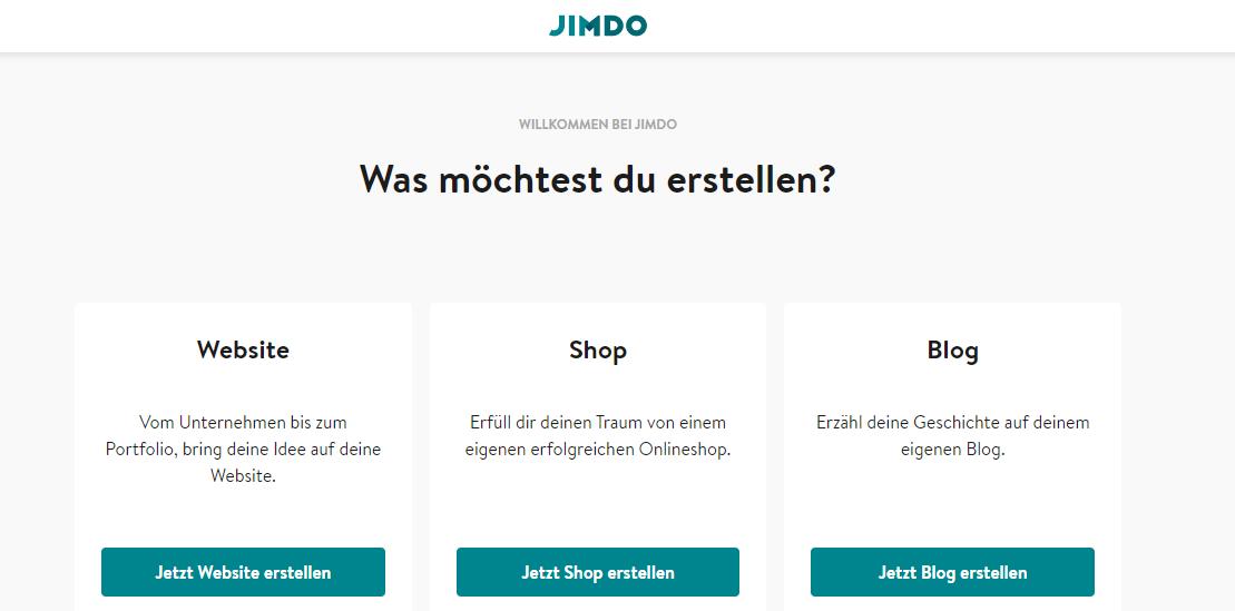 BILD 3: JIMDO Was möchtest du erstellen? (Website, Shop, Blog)