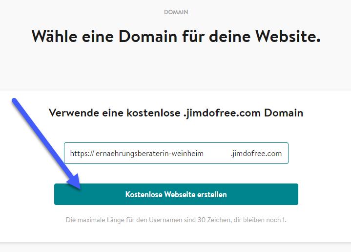 BILD 9: JIMDO Eintrag kostenlose .jimdofree.com Domain https://ernaehrungsberaterin-weinheim.jimdofree.com/ und Kostenlose Webseite erstellen
