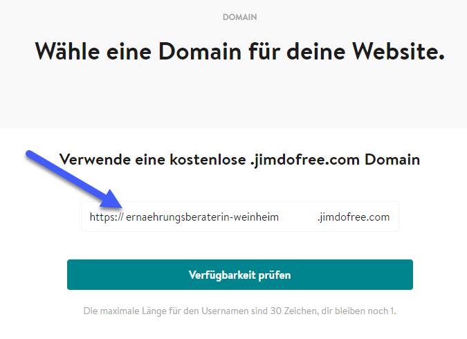 BILD 8: JIMDO Eintrag kostenlose .jimdofree.com Domain https://ernaehrungsberaterin-weinheim.jimdofree.com/ und Verfügbarkeit prüfen