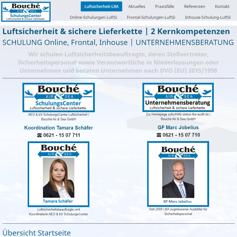 Bildauszug Startseite der Homepage https://www.boucheas.com/