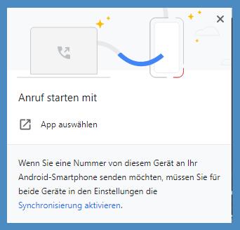 Bild: Anruf starten mit ... App auswählen | Nummer senden an Android Smartphone | Synchronisierung aktivieren