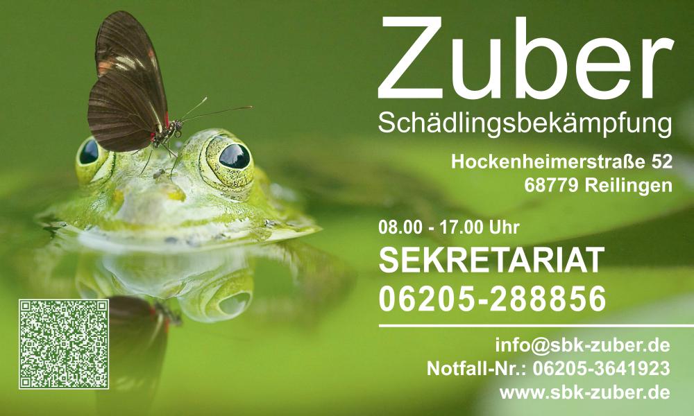 """Per Klick ins Bild gelangen Sie aufdie Homepagedes Unternehmens """"Schädlingsbekämpfung Zuber"""" in Reilingen."""