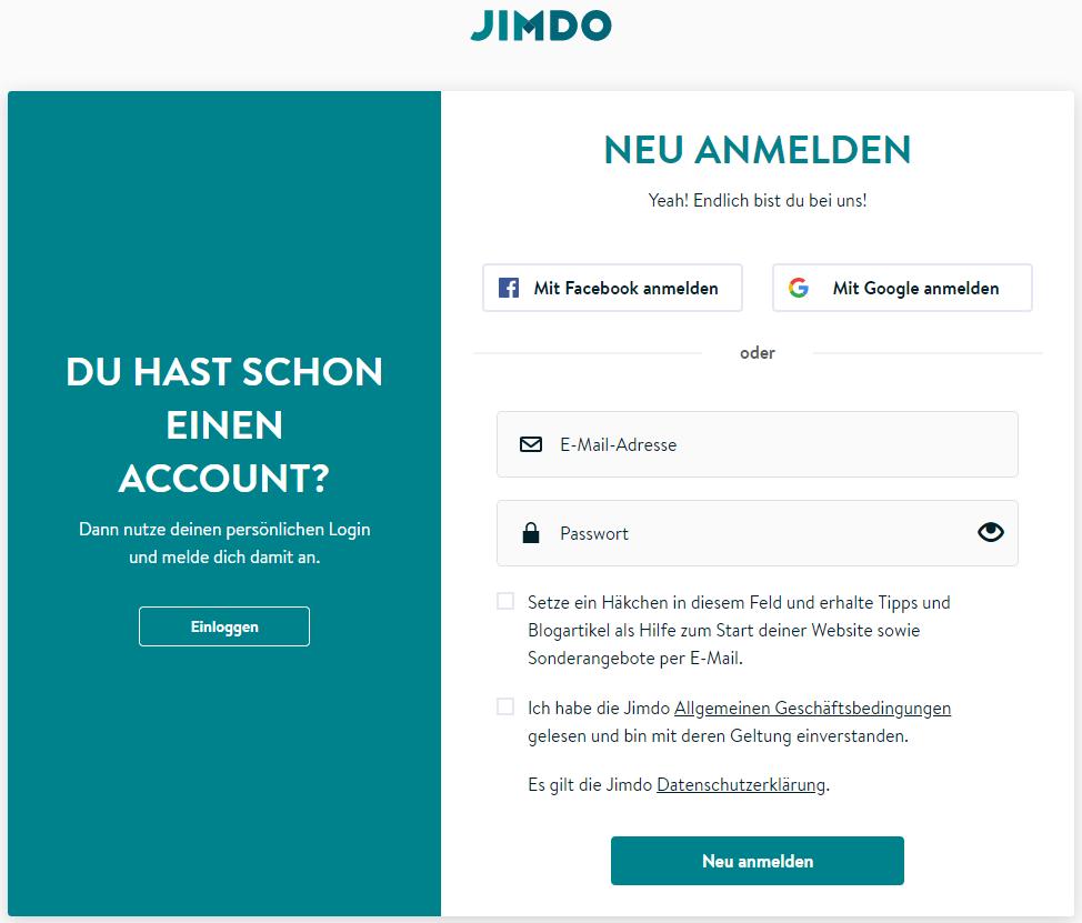BILD 2: JIMDO NEU ANMELDEN SEITE mit E-Mail-Adresse und Passwort