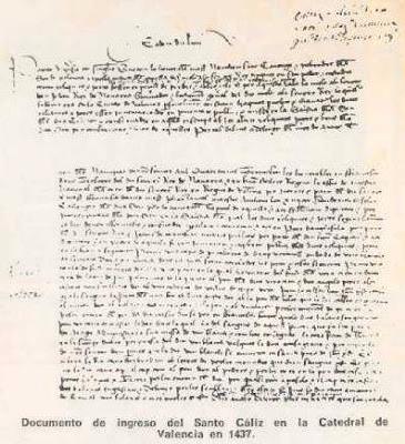 Documento de ingreso del Santo Cáliz en la Catedral de Valencia del año 1437.