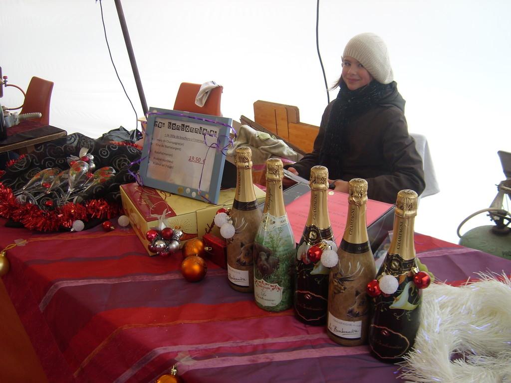 marché de Noel, où Justine tient à sa place !