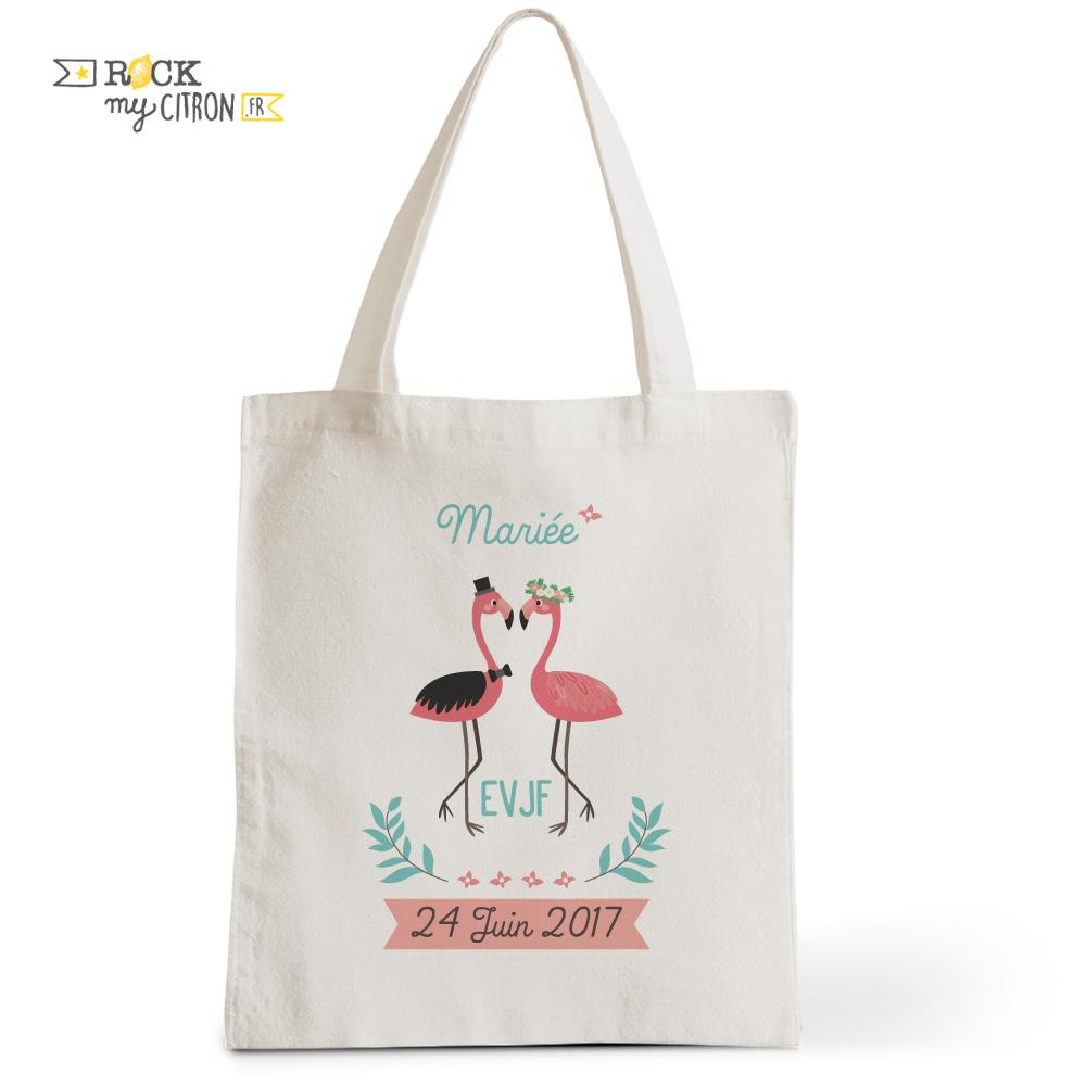 Exceptionnel Tote Bag Flamingo Personnalisé - Rock My Citron / Petite Boutique  IC33