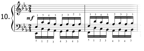 Piano technique exercise N°10 in Eb
