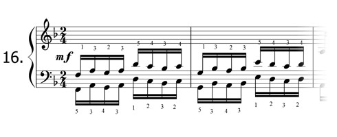 Piano technique exercise N°16 in F