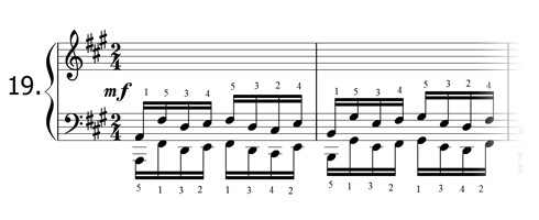 Piano technique exercise N°19 in A