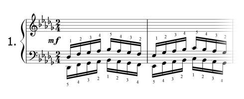 Piano technique exercise N°1 in Db