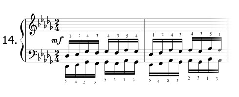 Piano technique exercise N°14 in Db