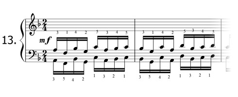 Piano technique exercise N°13 in F