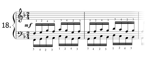 Piano technique exercise N°18 in F