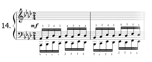 Piano technique exercise N°14 in Ab