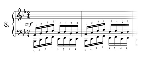 Piano technique exercise N°8 in Bb