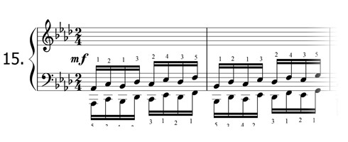 Piano technique exercise N°15 in Ab