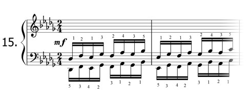 Piano technique exercise N°15 in Db