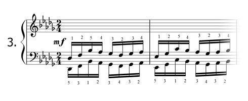 Piano technique exercise N°3 in Db