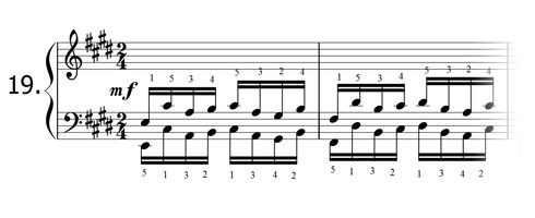 Piano technique exercise N°19 in E