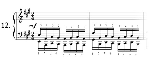 Piano technique exercise N°12 in A