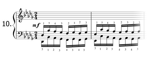 Piano technique exercise N°10 in Db