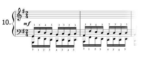 Piano technique exercise N°10 in G