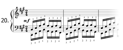 Piano technique exercise N°20 in A