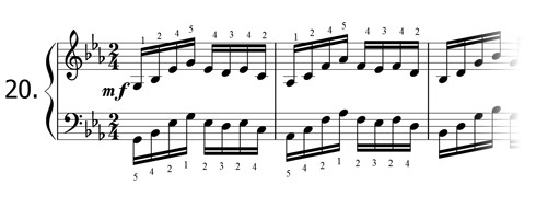 Piano technique exercise N°20 in Eb