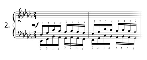 Piano technique exercise N°2 in Db