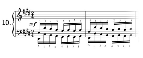 Piano technique exercise N°10 in E